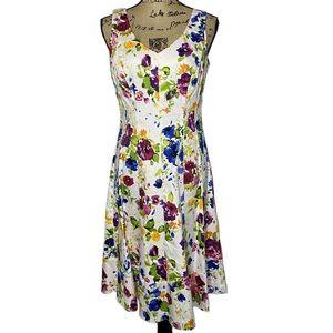 Lauren Ralph Lauren White Floral A Line Dress